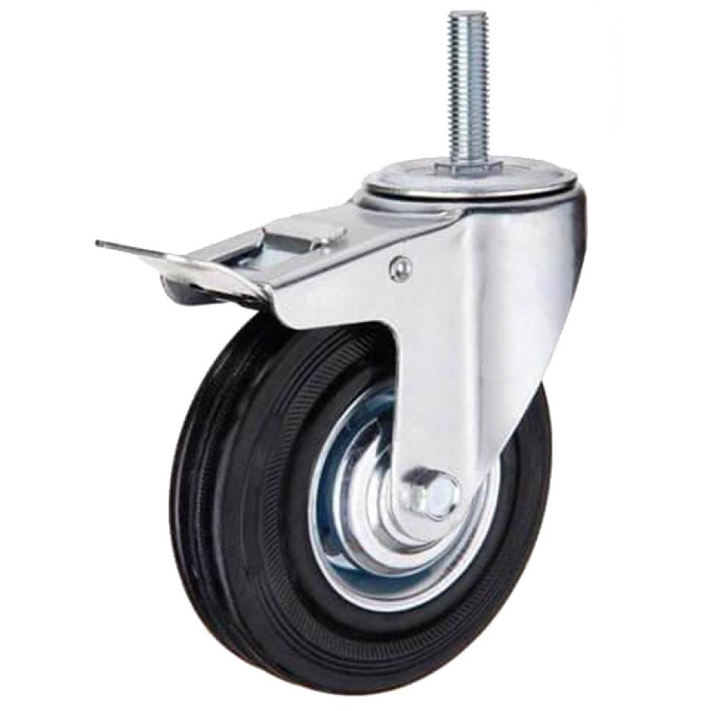 Купить Колесо промышленное поворотное крепление болтом м16 с тормозом м16 sctb63 160 мм mfk-torg 4009160 м16