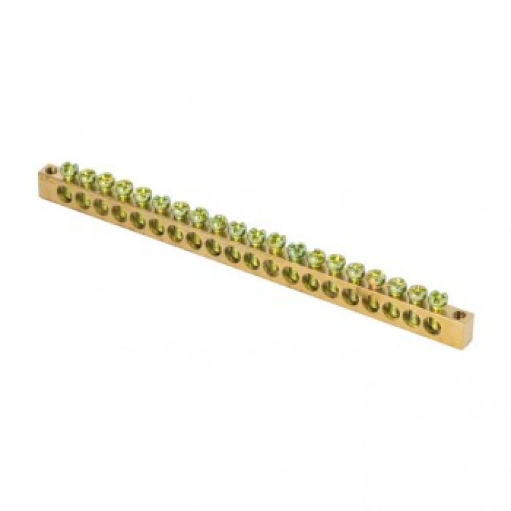 Шина ekf pen, ноль-земля, 6х9мм, 20 отверстий, латунь, крепеж по краям proxima sq sn0-63-20-k