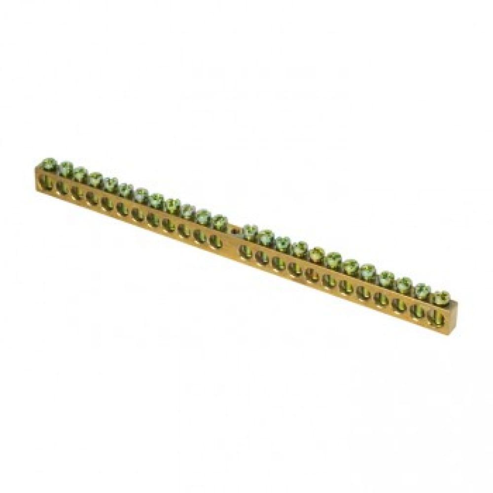 Шина ekf pen, ноль-земля, 8х12мм, 24 отверстия, латунь, крепеж по центру, proxima sq sn0-125-24-c
