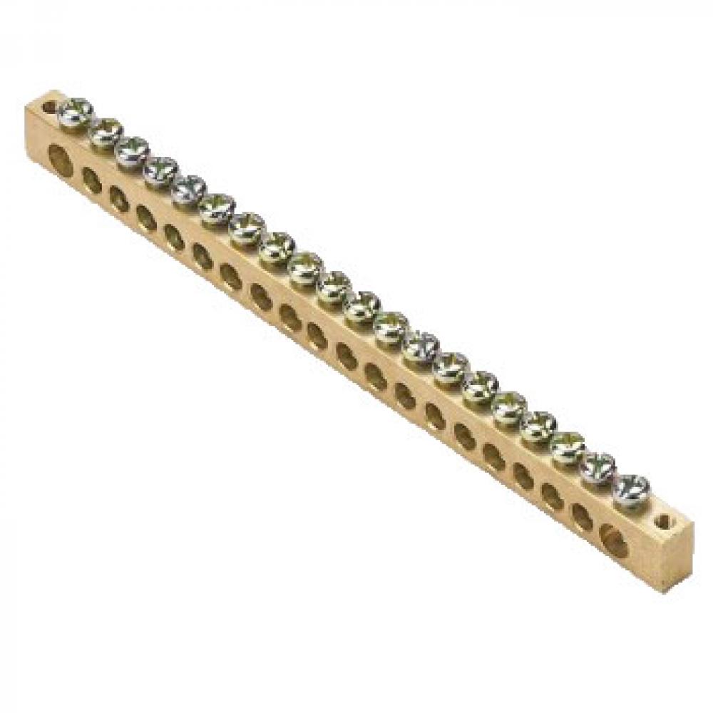 Шина ekf pen, ноль-земля, 8х12мм, 20 отверстий, латунь, крепеж по краям, proxima sq sn0-125-20-k