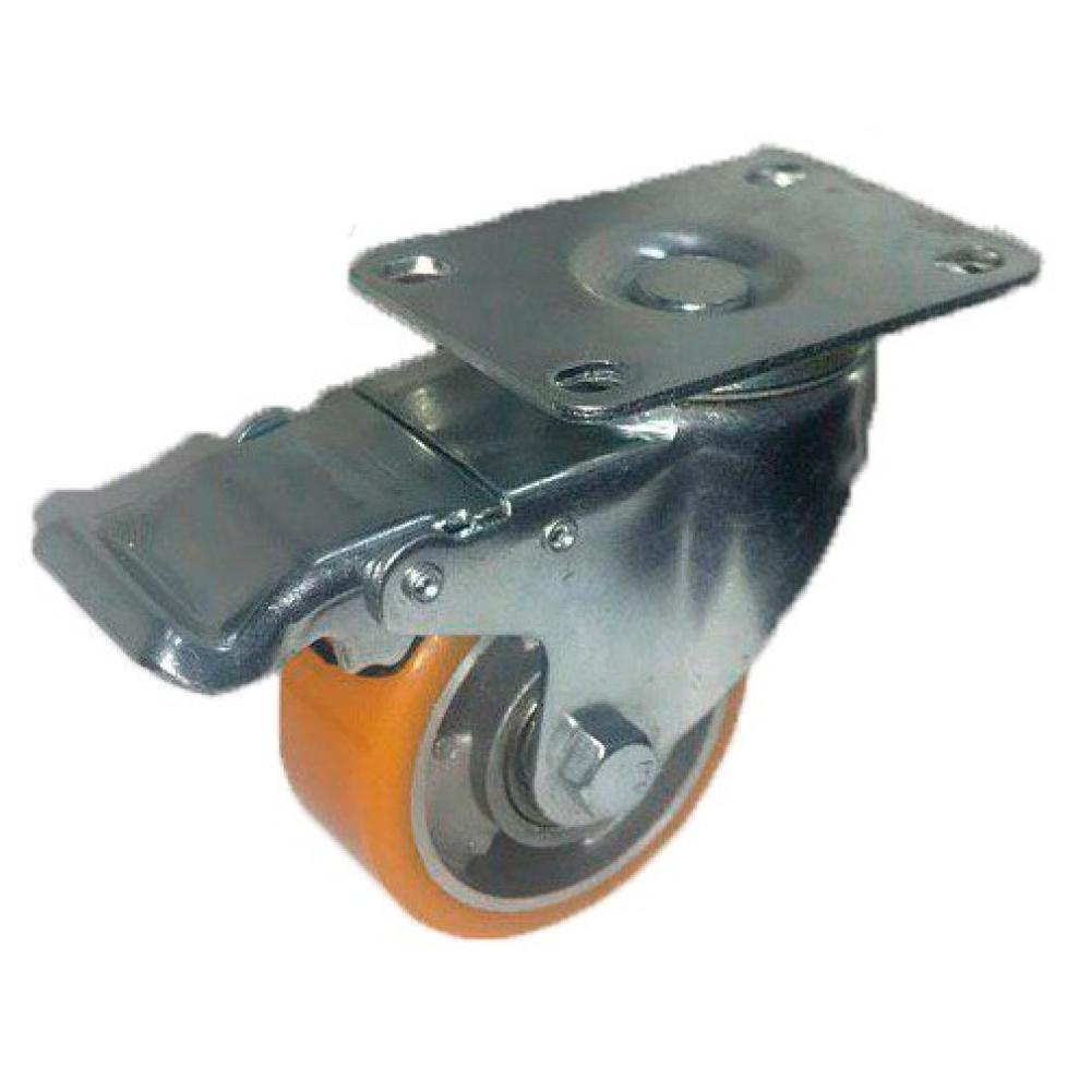 Колесо большегрузное полиуретановое поворотное с тормозом medium 100 мм mfk-torg 4324100 al