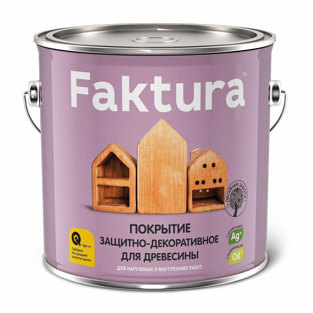 Защитно-декоративное покрытие faktura с льняным маслом, ионами серебра, для вн/нар., сосна 0, 7л 208448  - купить со скидкой