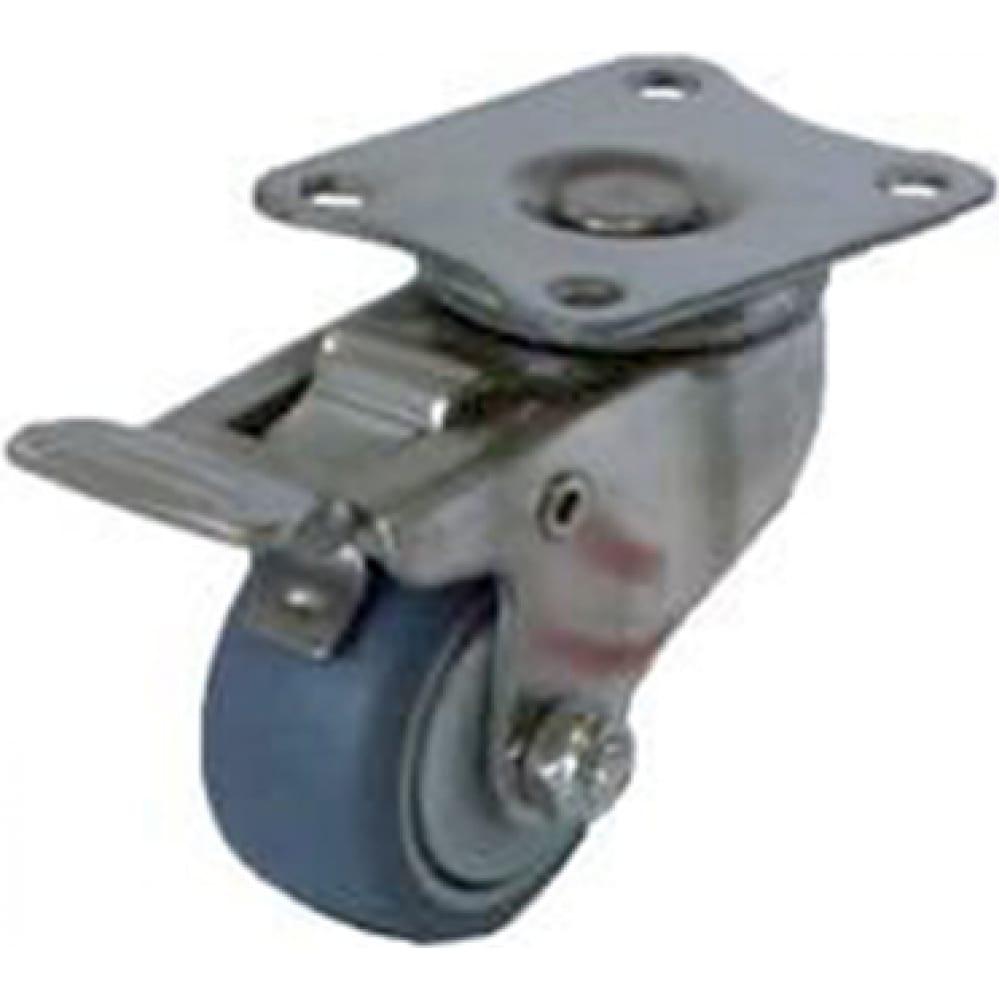 Купить Колесо серая мягкая резина поворотное с тормозом sus 304 40 мм mfk-torg 3054040нерж