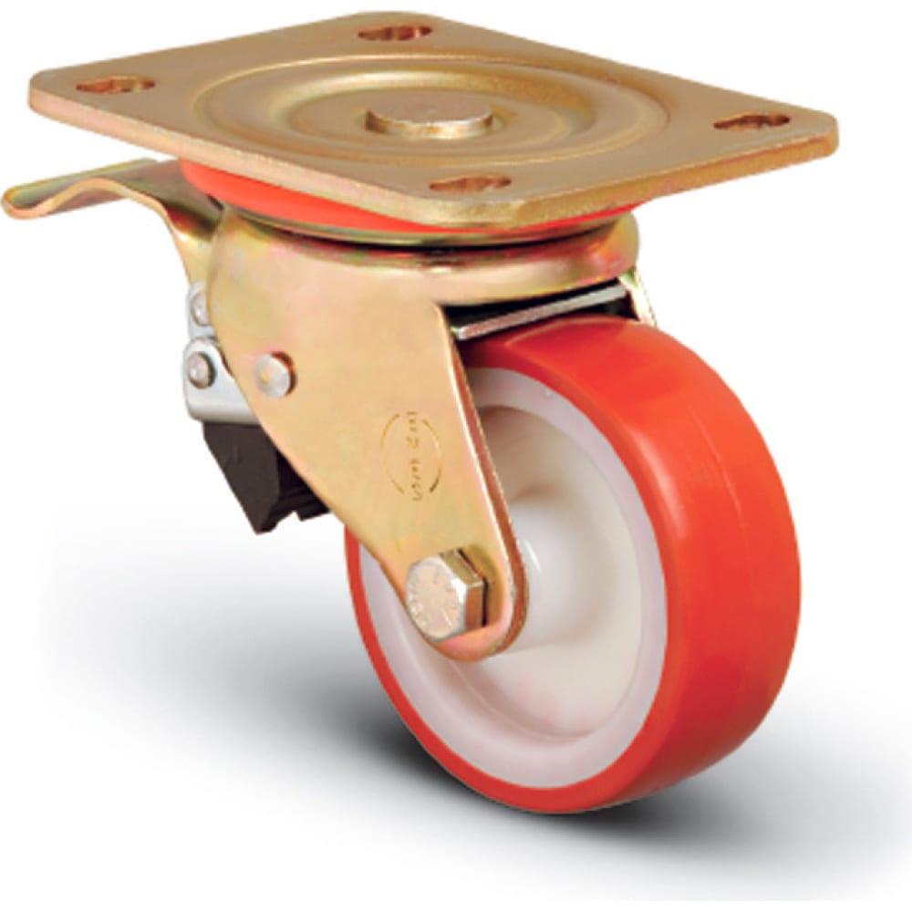 Купить Колесо сверхмощное полиуретановое поворотное с тормозом 125 мм mfk-torg ed01 zbp 125 f