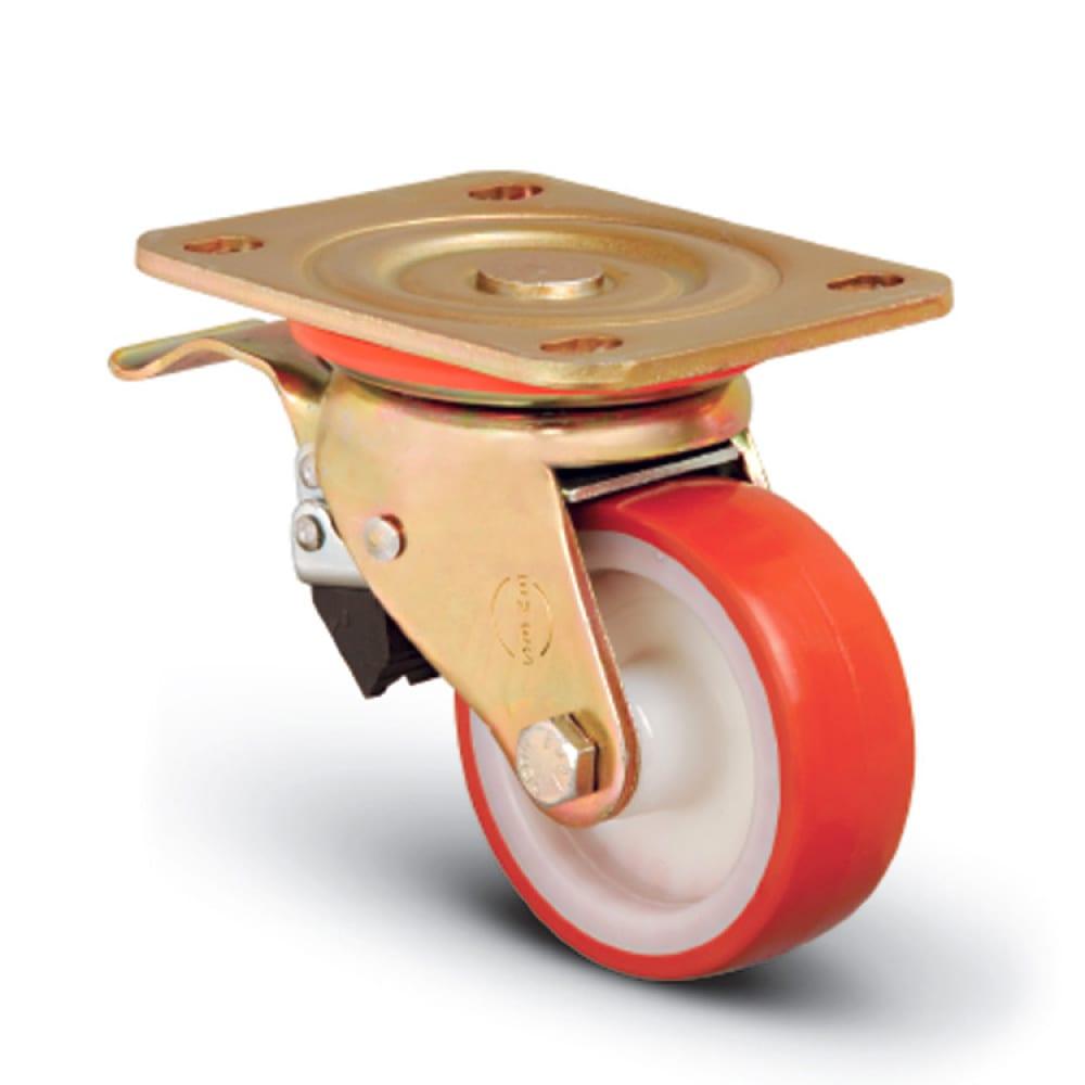 Колесо сверхмощное полиуретановое поворотное с тормозом 200 мм mfk-torg ed01 zbp 200 f  - купить со скидкой