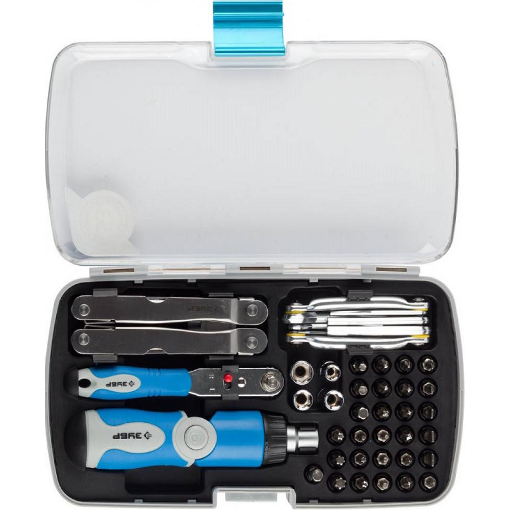 Универсальный слесарно-монтажный набор зубр с многофункциональным инструментом в пластмассовом боксе 53 предмета 25290-h53