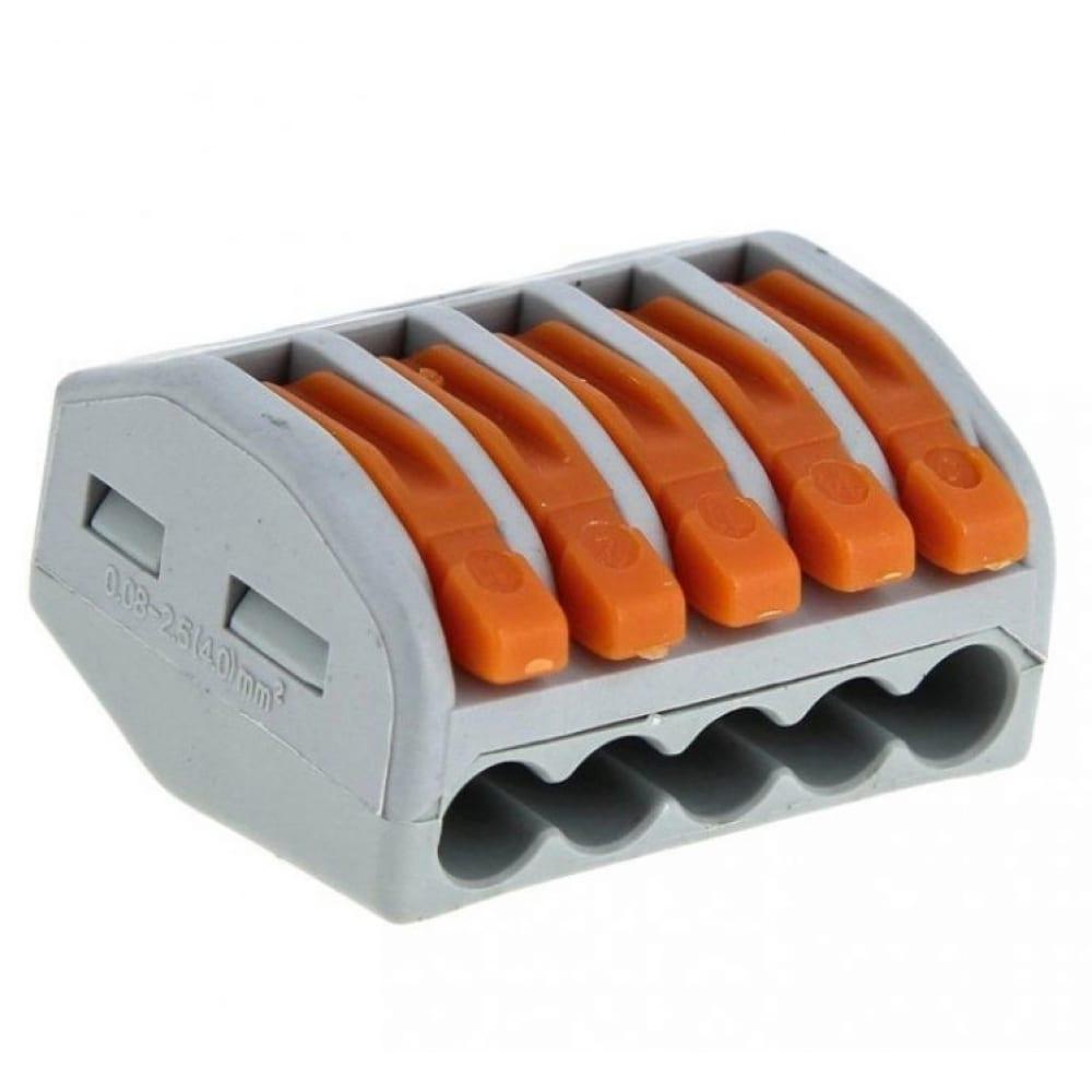 Строительно-монтажная клемма ekf смк 222-415 с рычагом 5 отверстий 0.08-2.5мм2 100шт. proxima sqplc-smk-415
