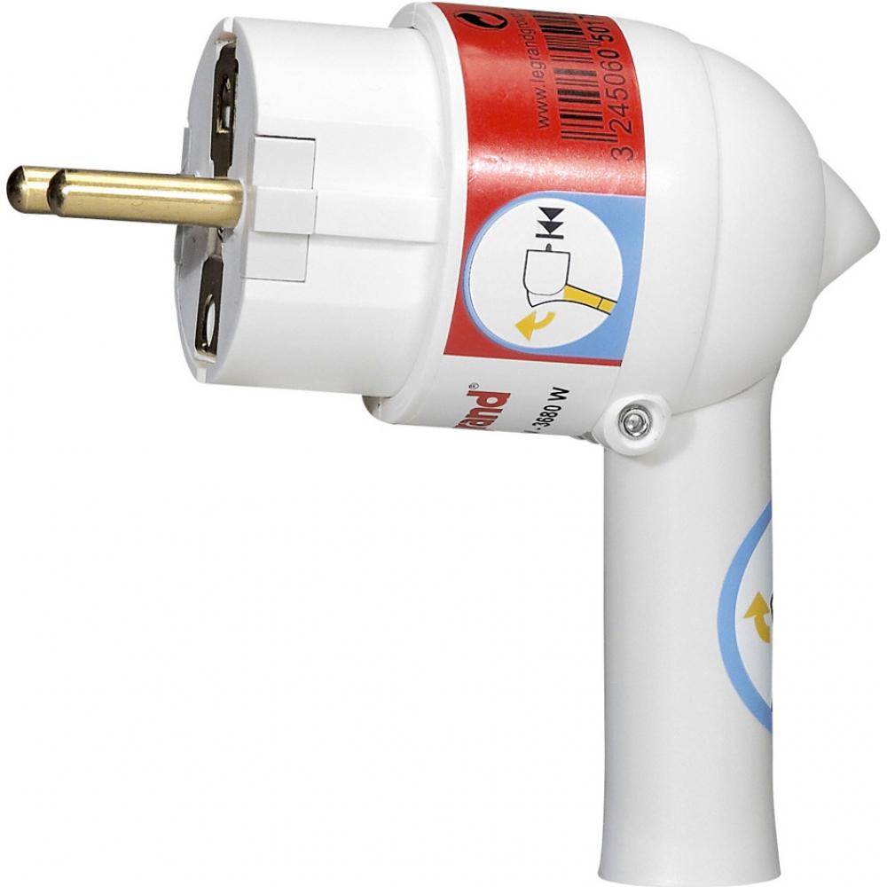 Электрическая кабельная вилка legrand helium 16 а 2p+e с выталкивающей кнопкой белая leg 050175