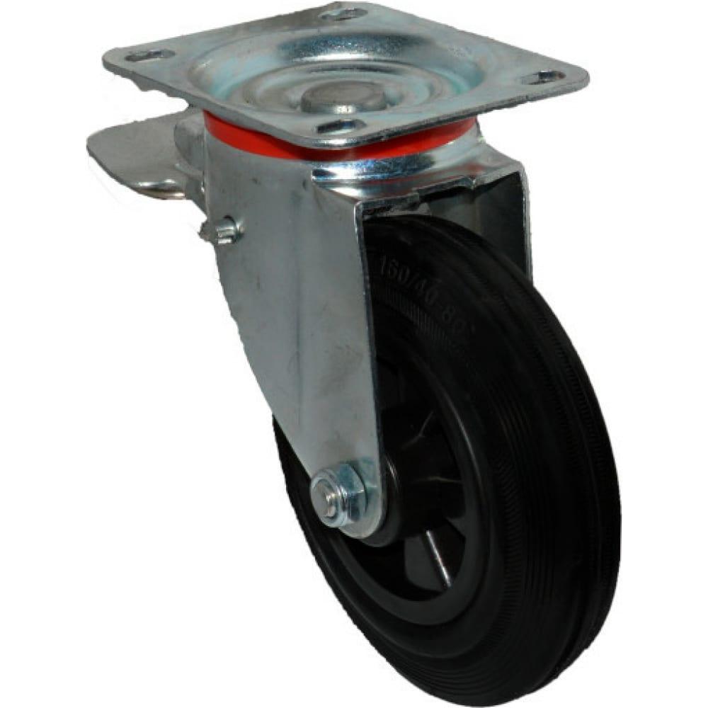 Купить Колесо для мусорных контейнеров поворотное усиленное с тормозом scв80 200 мм mfk-torg 4003200-ku