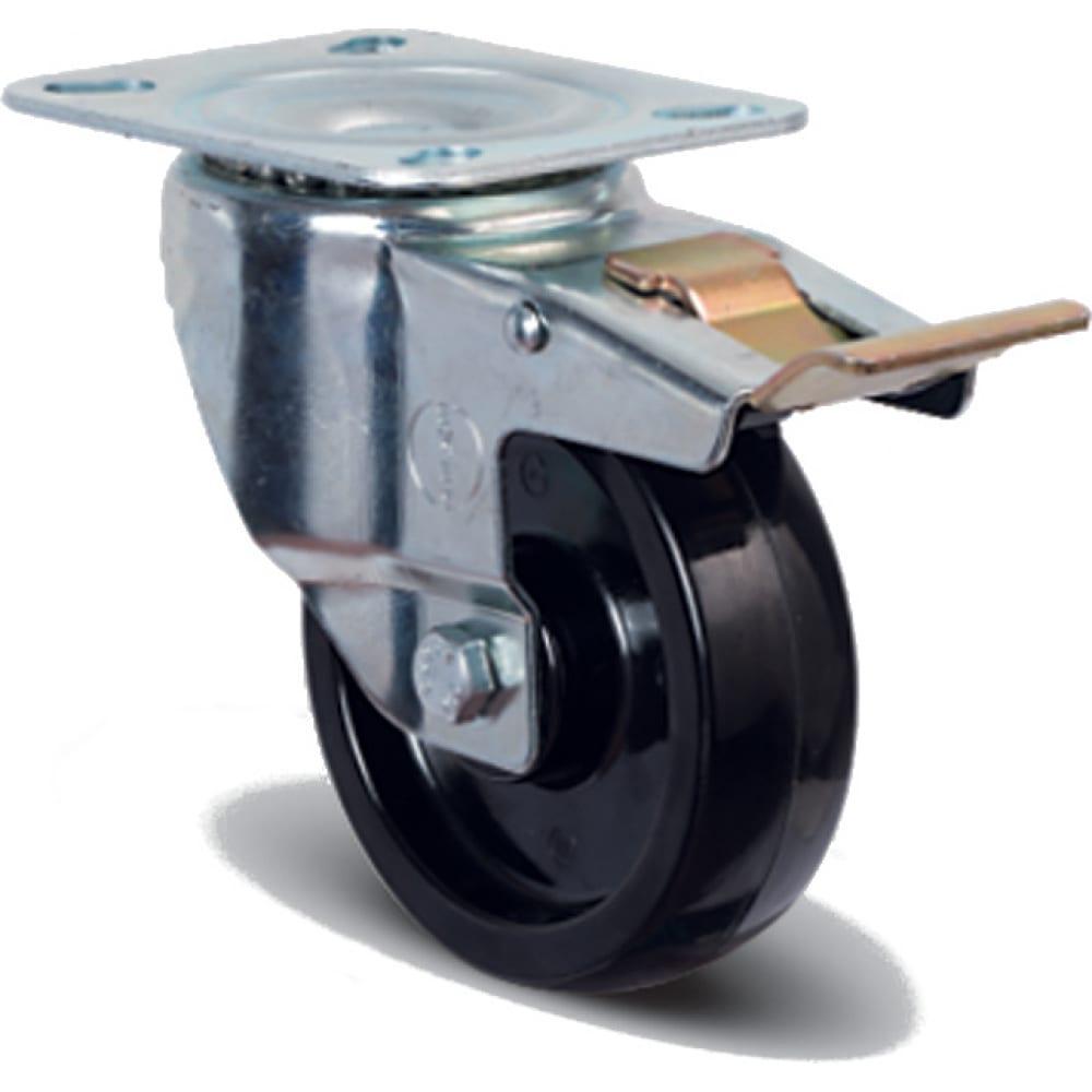 Купить Колесо термостойкое фенольное поворотное с тормозом 100 мм mfk-torg em01-bkb-100-f
