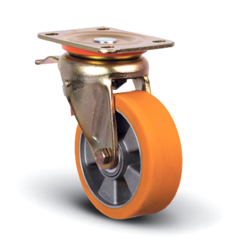 Купить Колесо полиуретановое поворотное с тормозом 100 мм mfk-torg ed01-abp-100-f