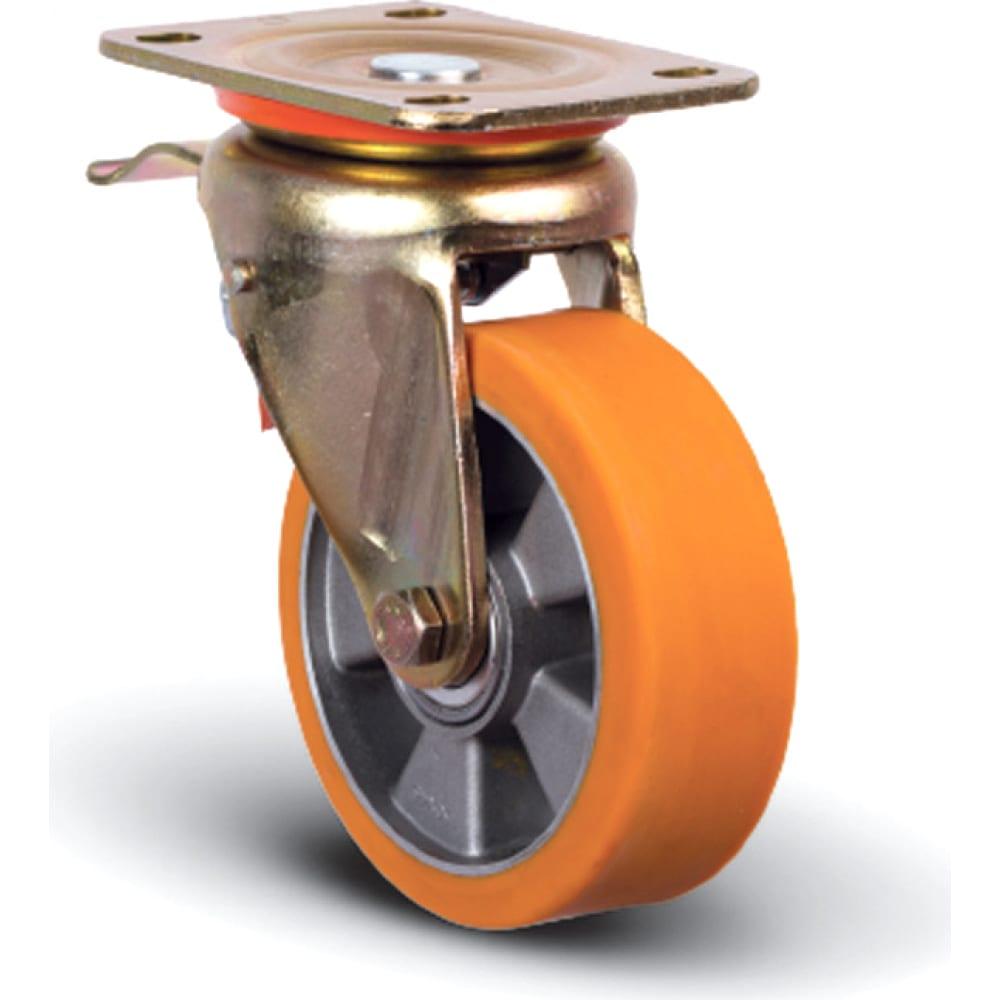 Купить Колесо полиуретановое поворотное с тормозом 200 мм mfk-torg ed01-abp-200-f