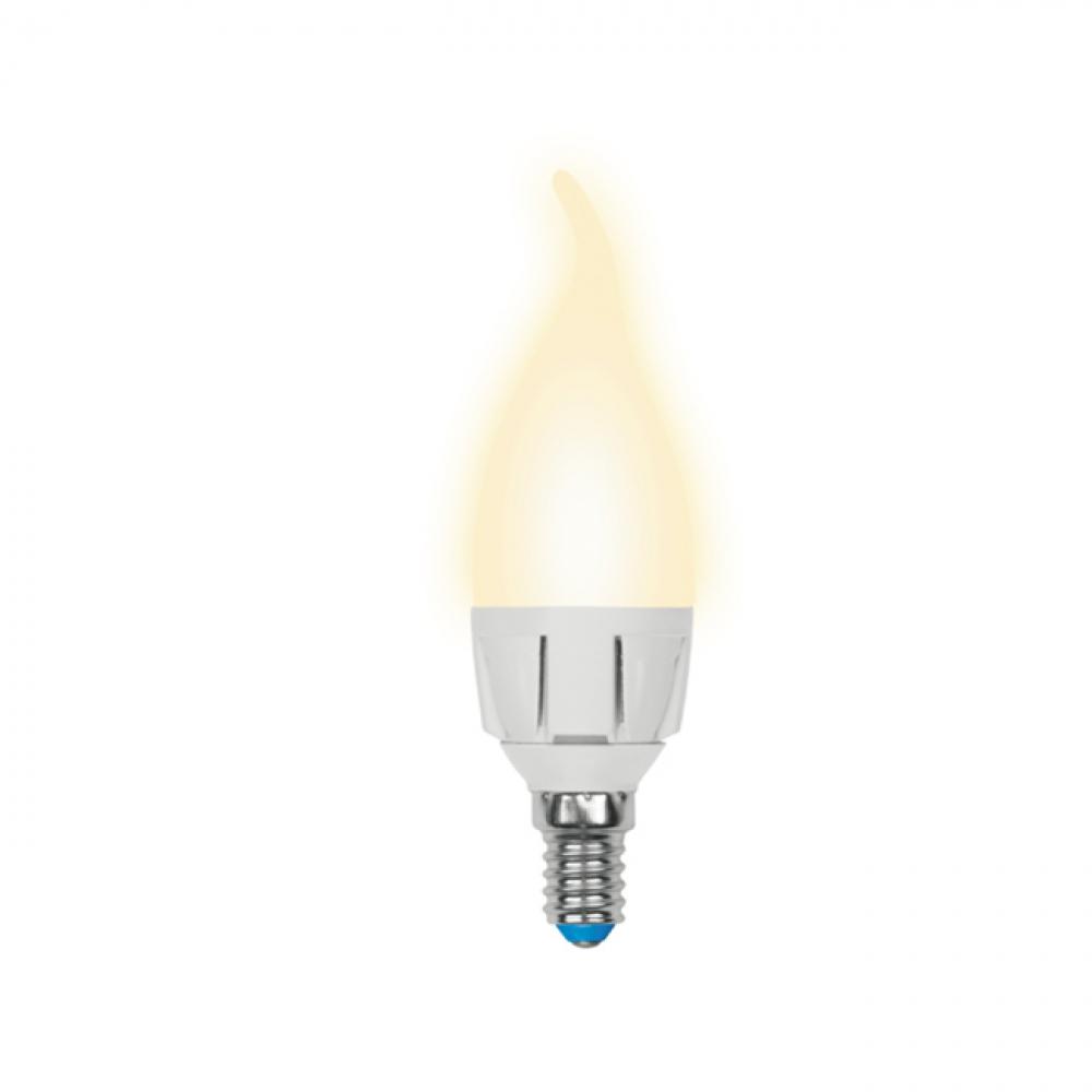 Светодиодная диммируемая лампа uniel led-cw37-6w/ww/e14/fr/dim plp01wh ul-00000691