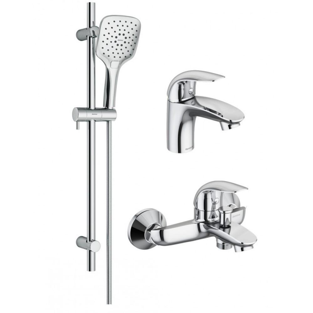 Купить Набор 3 в 1: смеситель для умывальника, смеситель для ванны и душа, душевой комплект damixa palace bit 409310000