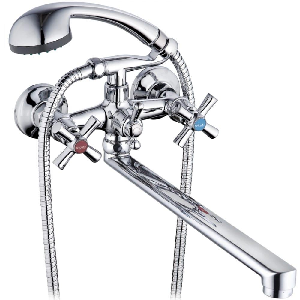 Купить Смеситель для ванны g-lauf с длинным поворотныи изливом 360 градусов, с душевой лейкой, хром qfr7-c722