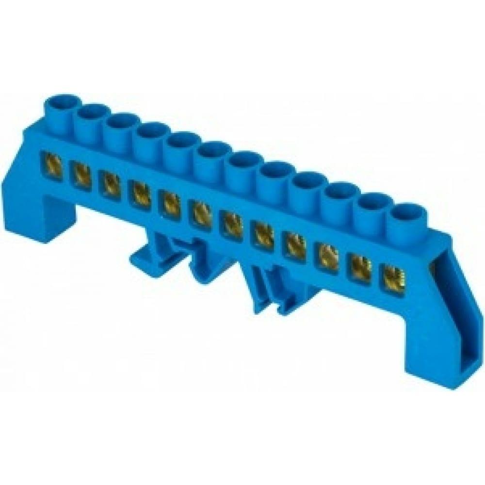 Шина ekf 0 n, 8х12мм, 12 отверстий, латунь, синий нейлоновый корпус, комбинированная, proxima sq sn0-125-12-dn
