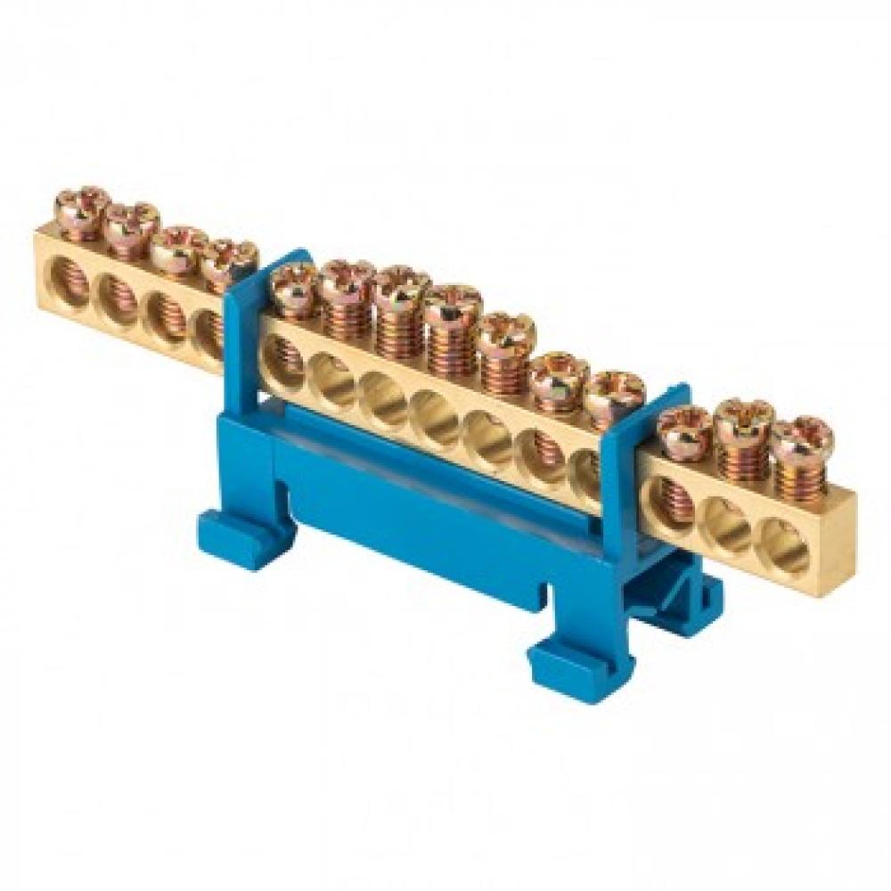 Шина ekf 0 n, 6х9мм, 14 отверстий, латунь, синий изолятор, тип стойка, на din-рейку, proxima sq sn0-63-14-sb-r