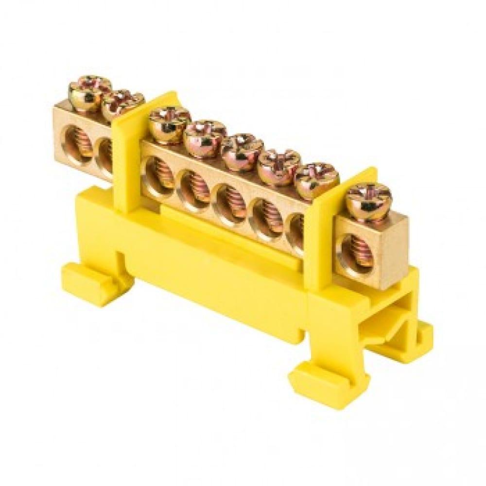 Шина ekf 0 pe, 6х9мм, 8 отверстий, латунь, желтый изолятор, тип стойка, на din-рейку, proxima sq sn0-63-8-sy
