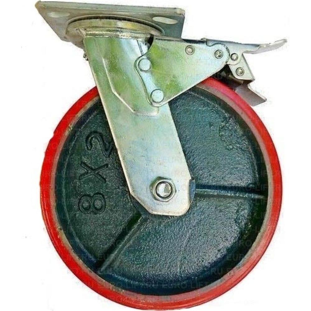 Купить Колесо большегрузное с полиуретановой шинкой с-4102-dus поворотное с тормозом г/п 1100 кг euro-lift 00018528