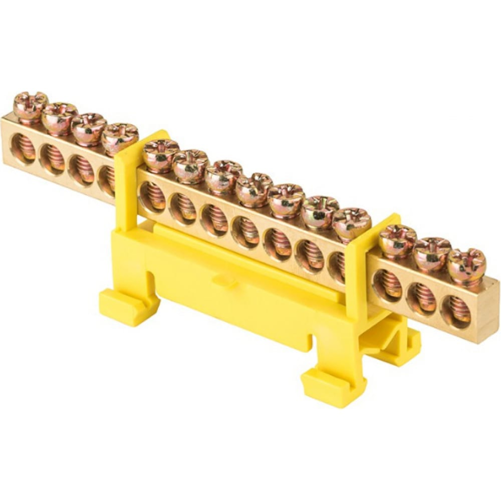 Нулевая шина ekf proxima pe 6х9мм, 14 отверстий, латунь, желтый изолятор, тип стойка, на din-рейку, sq sn0-63-14-sy