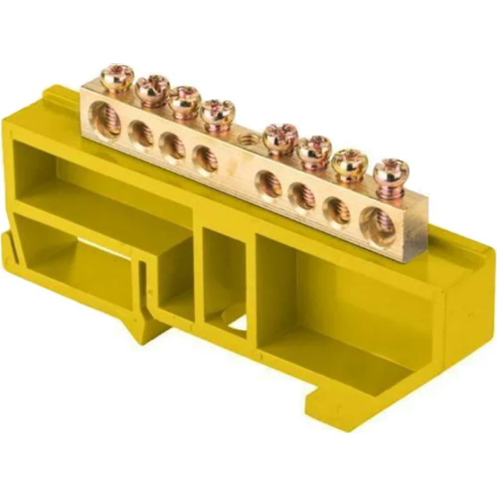 Нулевая шина ekf proxima n 6х9мм, 8 отверстий, латунь, желтый изолятор, на din-рейку, sq sn0-63-08-dz