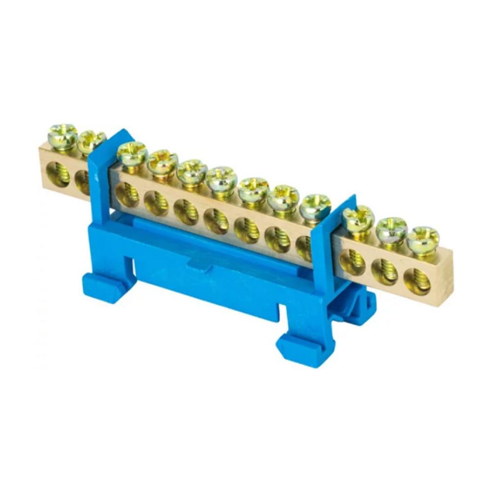 Нулевая шина ekf proxima n, 6х9мм, 12 отверстий, латунь, синий изолятор, тип стойка, на din-рейку, sq sn0-63-12-sb-r