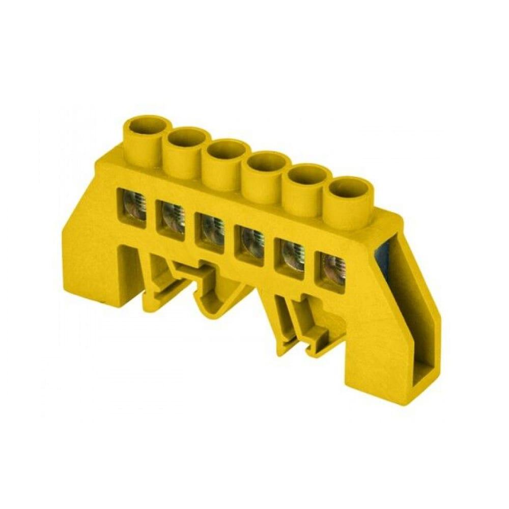 Нулевая шина ekf proxima ре, 8х12мм, 6 отверстий, латунь желтый, нейлоновый корпус, sq sn0-125-6-dpe