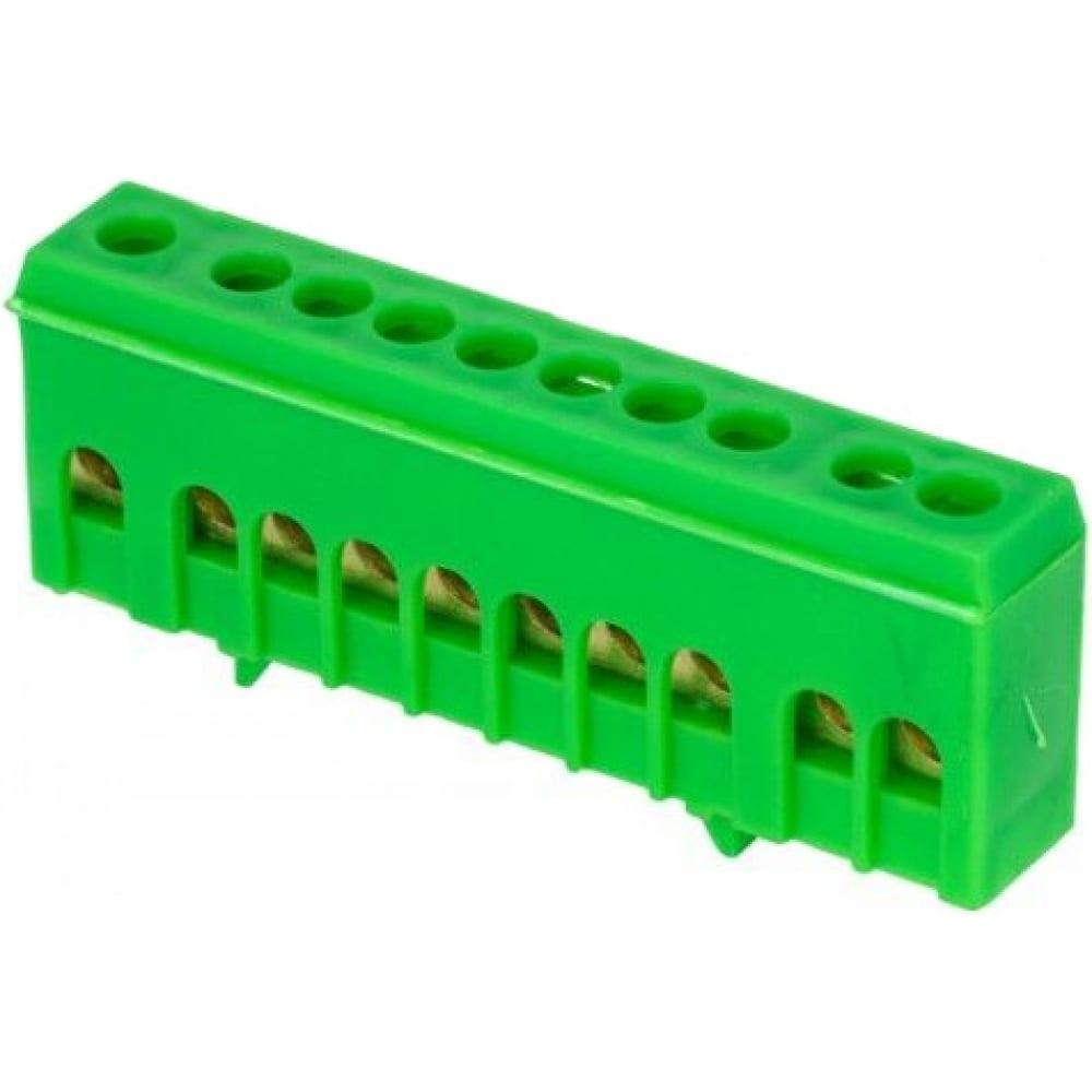 Нулевая шина ekf proxima pe, 6х9мм, 10 отверстий, латунь зеленый, изолированный корпус, на din-рейку, sq sn0-63-10-ig