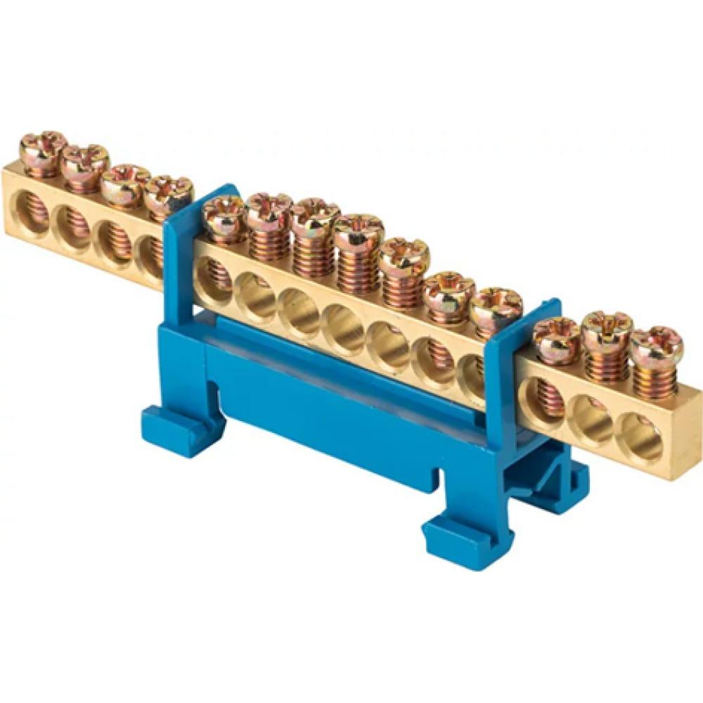 Нулевая шина ekf proxima n, 6х9мм, 14 отверстий, латунь, синий изолятор, тип стойка, на din-рейку, sq sn0-63-14-sb