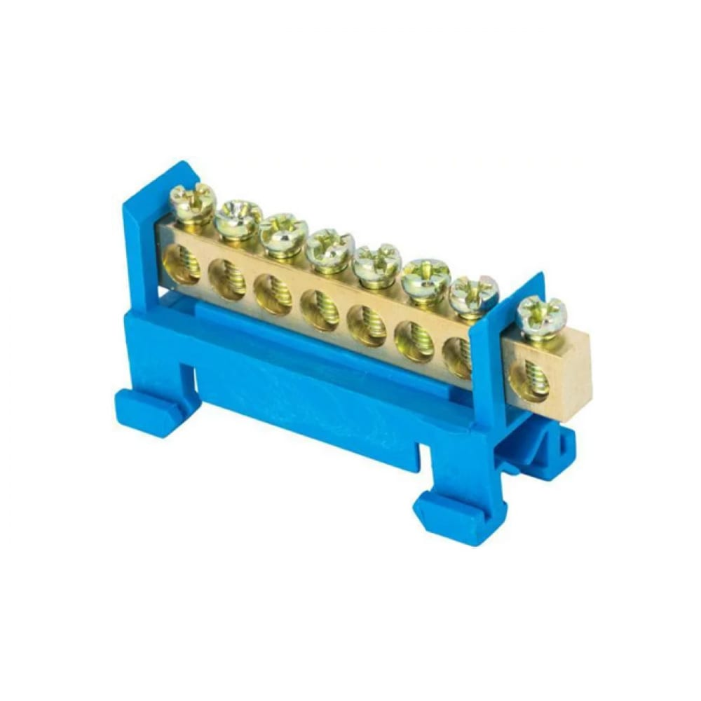 Нулевая шина ekf proxima n, 6х9мм, 8 отверстий, латунь, синий изолятор, тип стойка, на din-рейку, sq sn0-63-8-sb