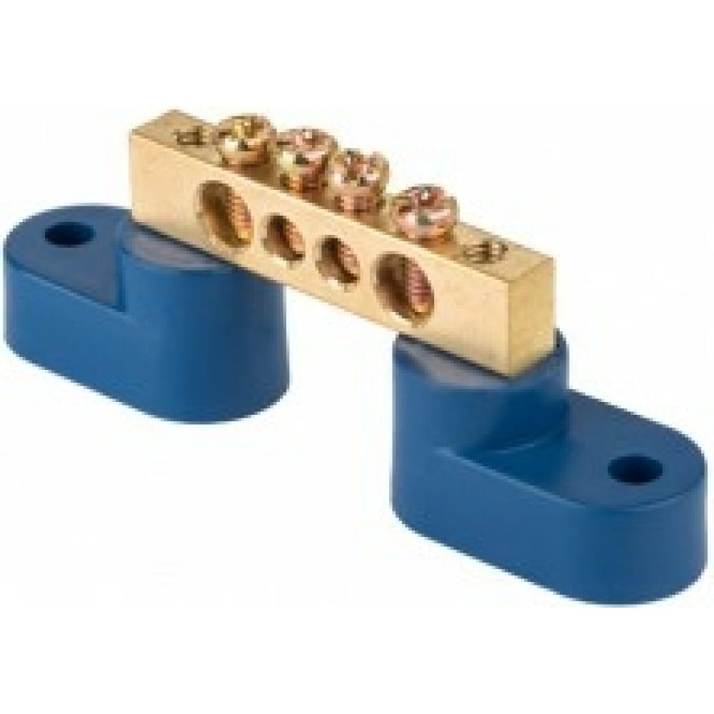 Нулевая шина ekf n, 8х12мм, 4 отверстия, латунь, 2 синих угловых изолятора, proxima sq sn0-125-04-2