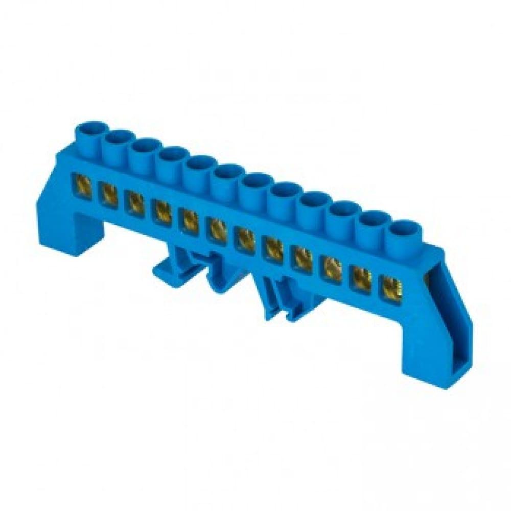Нулевая шина ekf n, 8х12мм, 12 отверстий, латунь, синий нейлоновый корпус, комбинированная, proxima sq sn0-125-12-dn-r