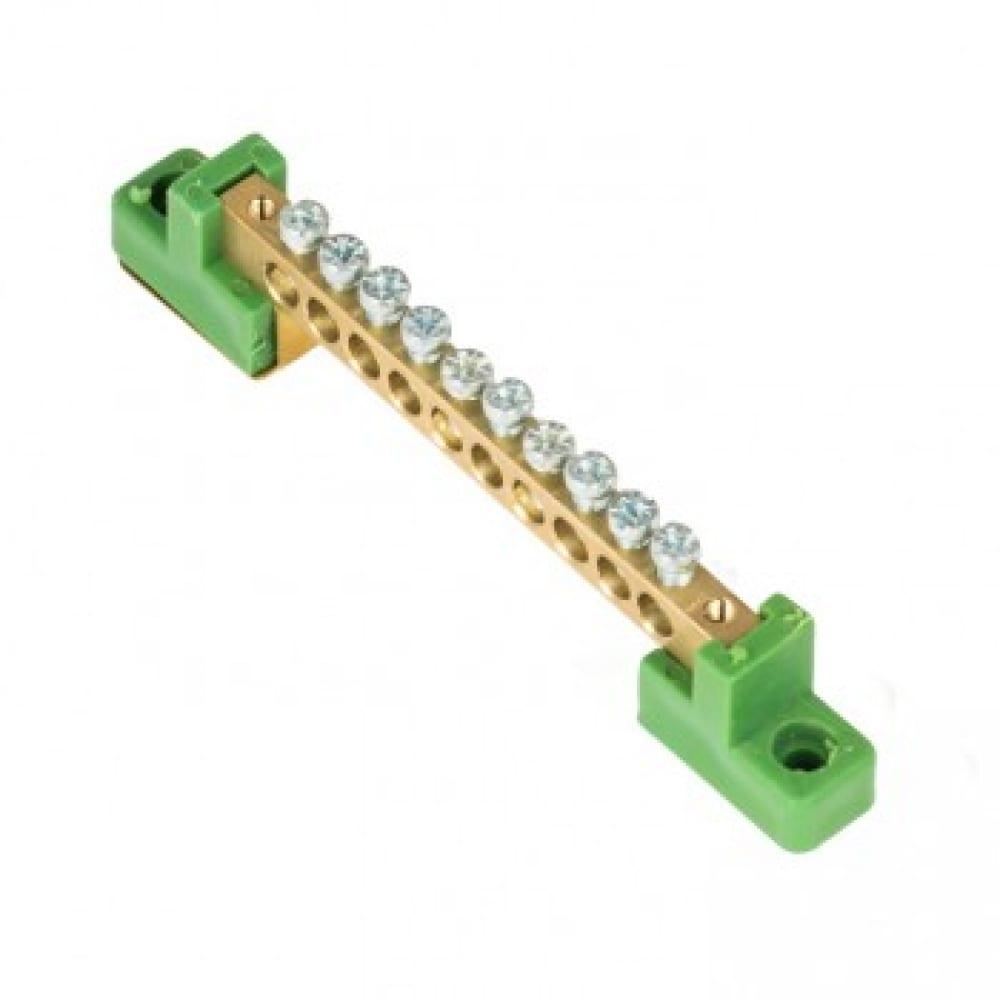 Нулевая шина ekf pe, 6x9мм, 10 отверстий, латунь, 2 зелёных угловых изолятора, proxima sq sn0-63-10-2-pe