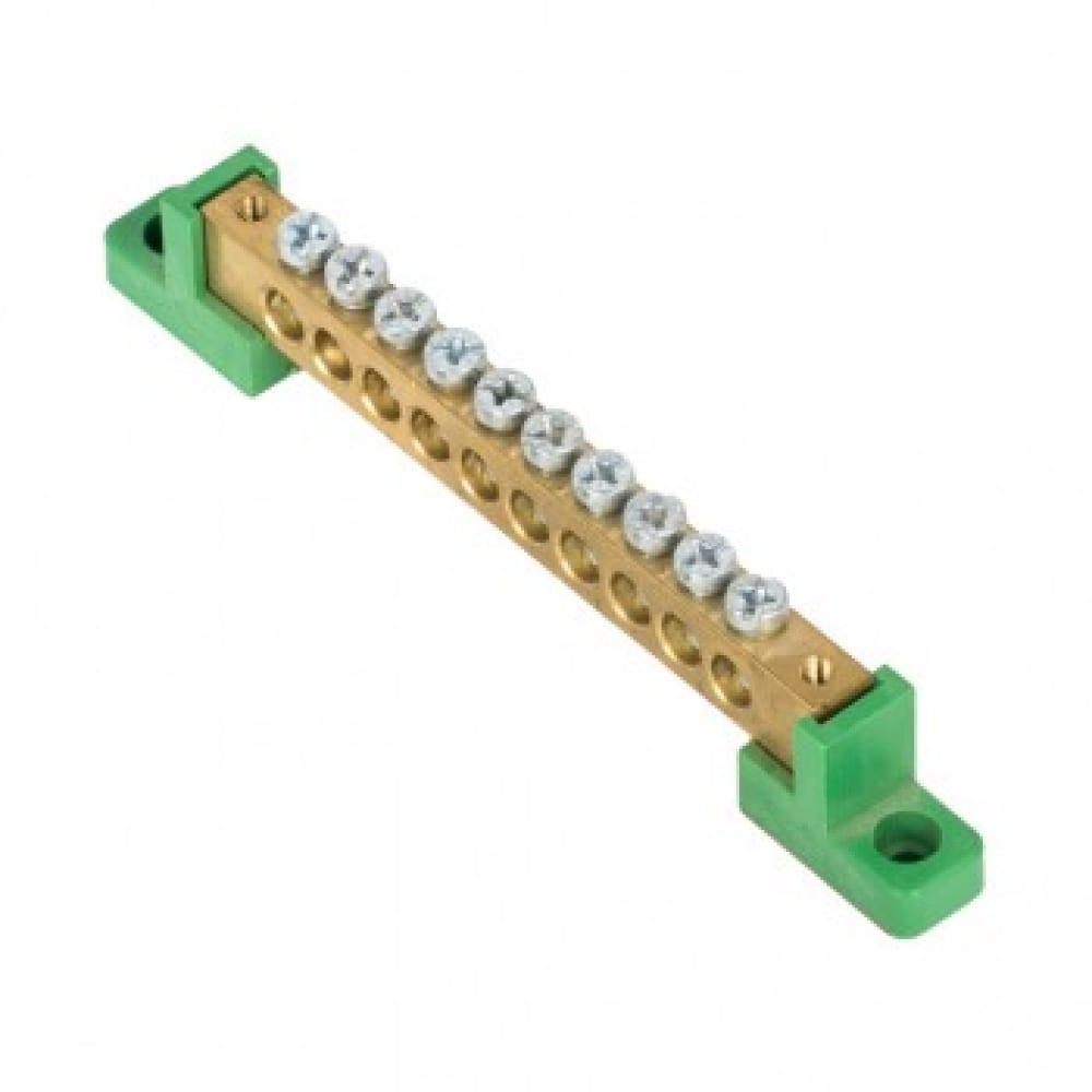 Нулевая шина ekf pe, 8x12мм, 10 отверстий, латунь, 2 зелёных угловых изолятора, proxima sq sn0-125-10-2-pe