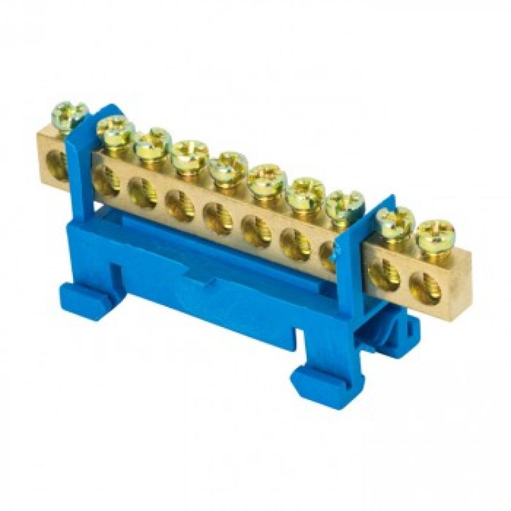 Нулевая шина ekf n, 6х9мм, 10 отверстий, латунь, синий изолятор, тип стойка, на din-рейку, proxima sq sn0-63-10-sb
