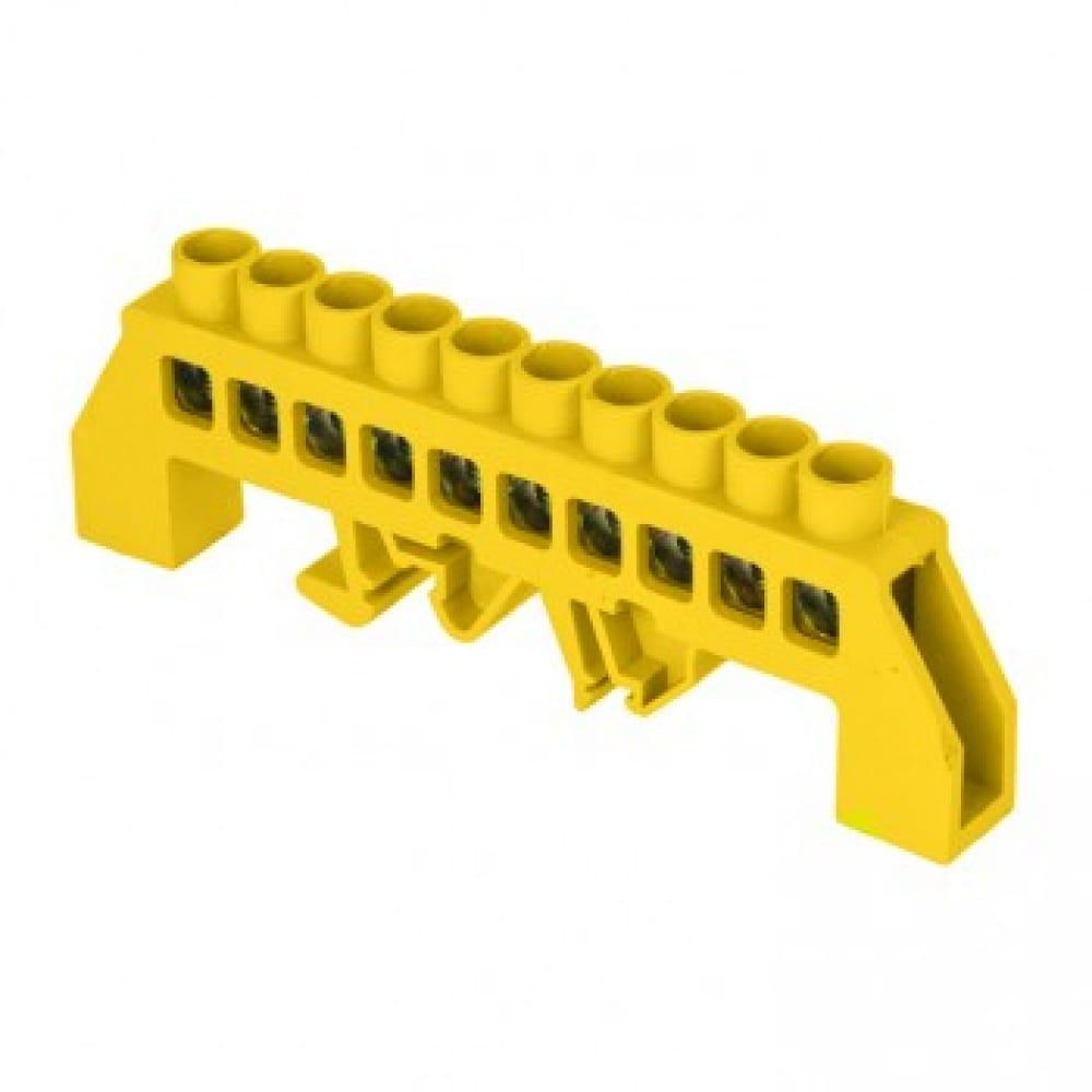 Нулевая шина ekf ре, 8х12мм, 10 отверстий, латунь, желтый нейлоновый корпус, комбинированная, proxima sq sn0-125-10-dpe