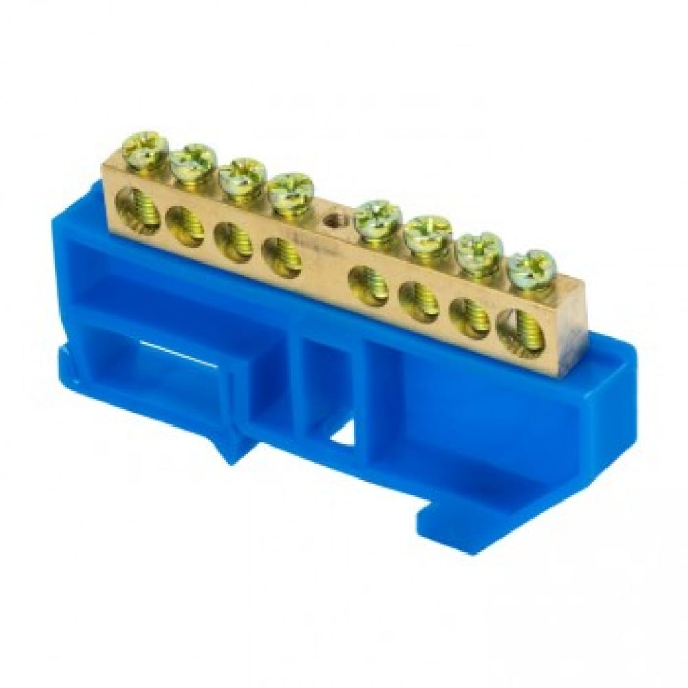 Нулевая шина ekf n, 8х12мм, 8 отверстий, латунь, синий изолятор, на din-рейку, proxima sq sn0-125-8-d-r