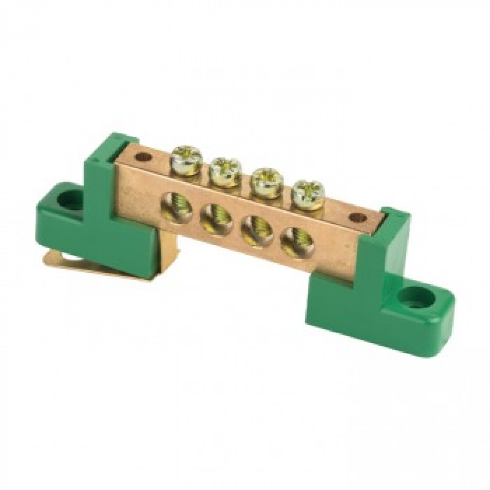 Нулевая шина ekf pe, 6x9мм, 4 отверстия, латунь, 2 зелёных угловых изолятора, proxima sq sn0-63-04-2-pe