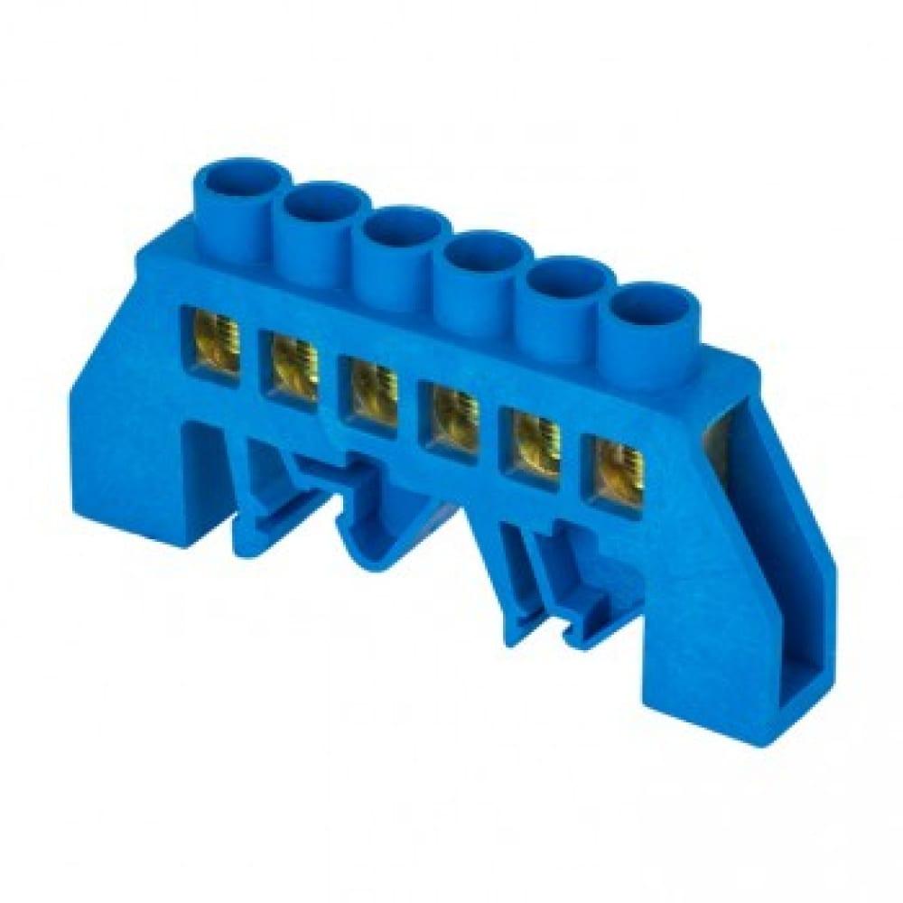 Нулевая шина ekf n, 8х12мм, 6 отверстий, латунь, синий нейлоновый корпус, комбинированная, proxima sq sn0-125-6-dn-r