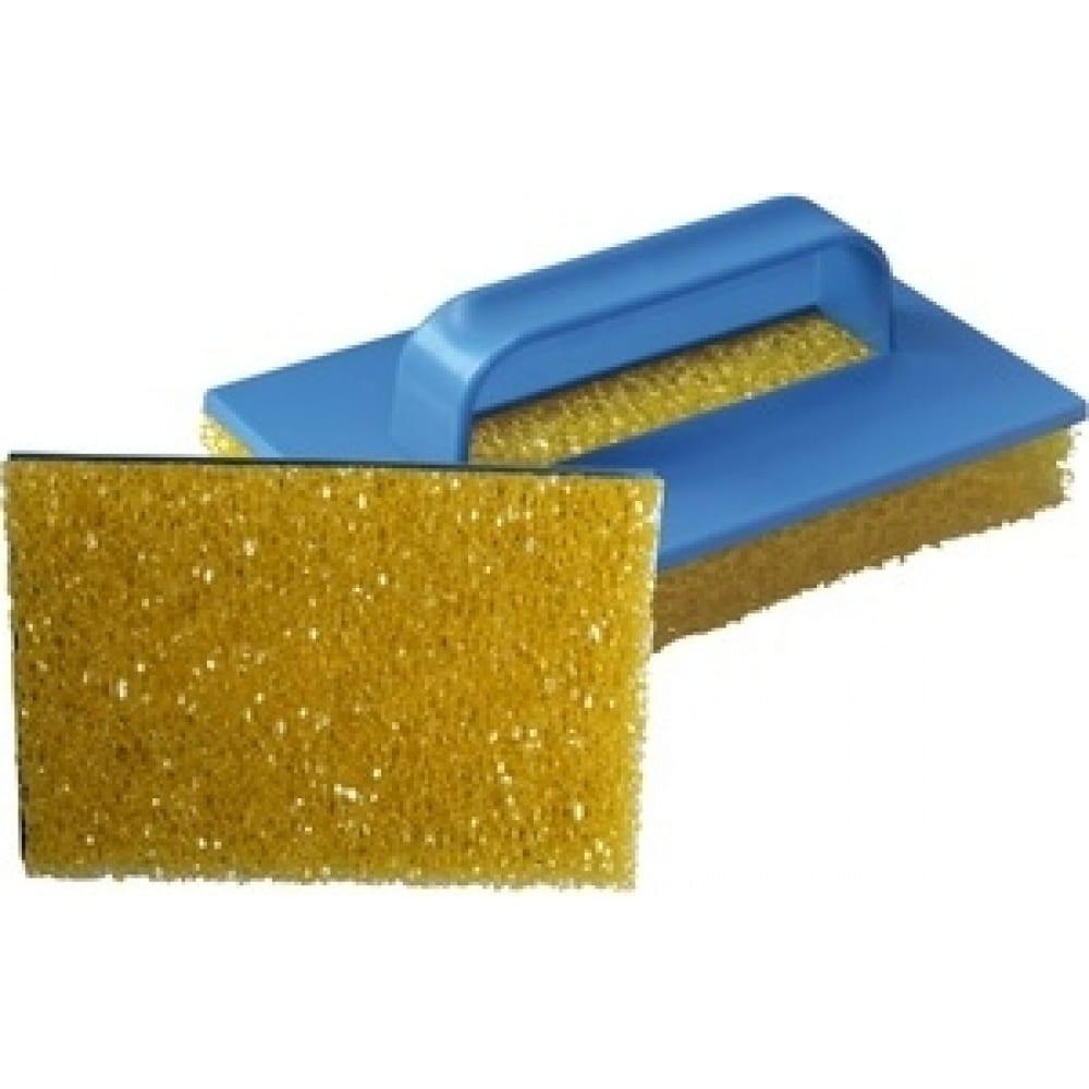 Структурная желтая грубая губка с пластиковой ручкой stmdecor eg019b