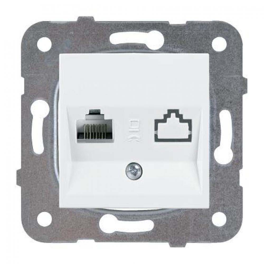 Купить Компьютерная розетка panasonic модуль rj45, категория 5e, белая karre plus panas wktt0404-2wh-res