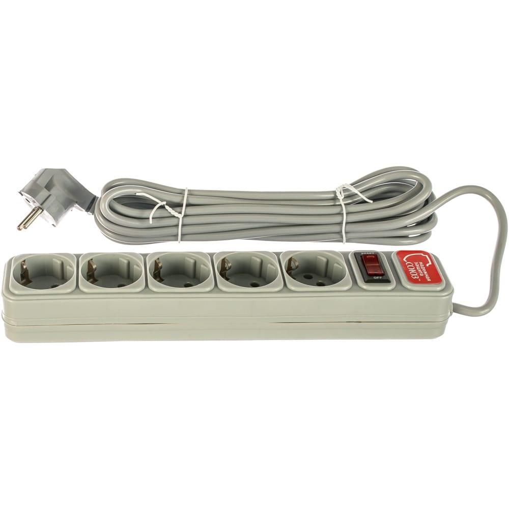 Купить Сетевой фильтр союз пвс, 3*0.75, 5м, серый, премиум упаковка 1330