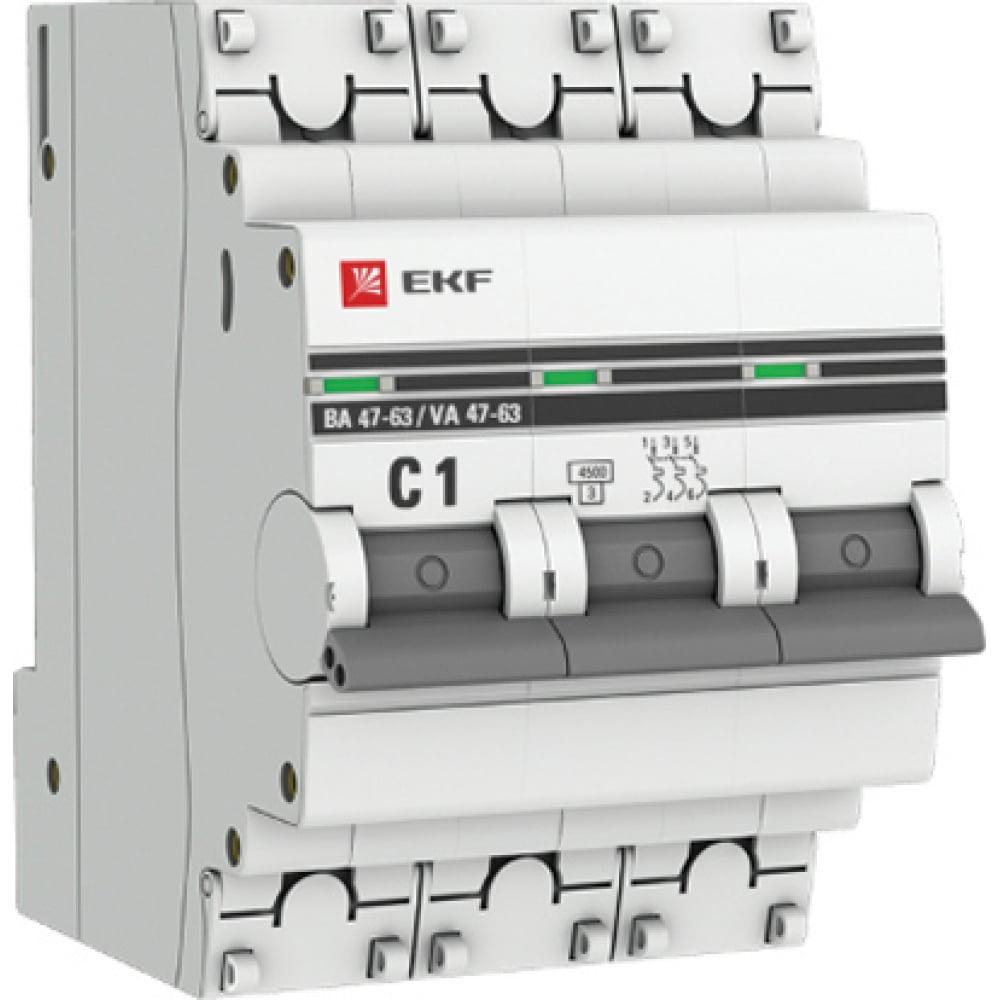 Автоматический выключатель ekf proxima ва 47-63 3p, 1а, 4,5ka, sq mcb4763-3-01c-pro