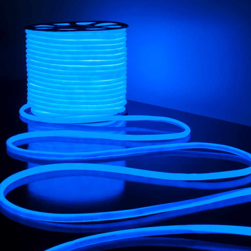 Светодиодный гибкий неон elektrostandard ls003 220v 9. 6w 144led 2835 ip67 16mm круглый синий, 50м a043550