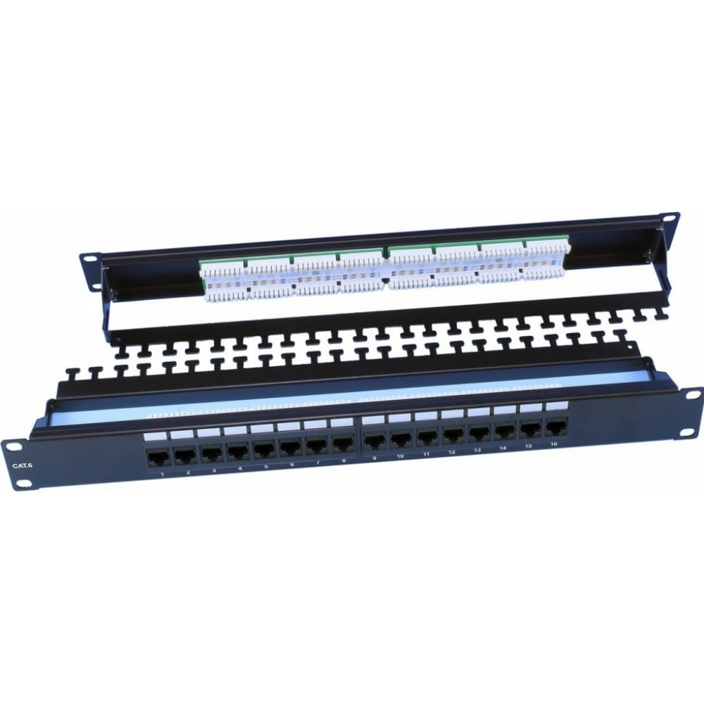 Купить Патч-панель hyperline, pp3-19-16-8p8c-c6-110d, 19, 1u, 16 портов rj-45, категория 6, dual idc, rohs, цвет черный, задний кабельный организатор в комплекте, 246105