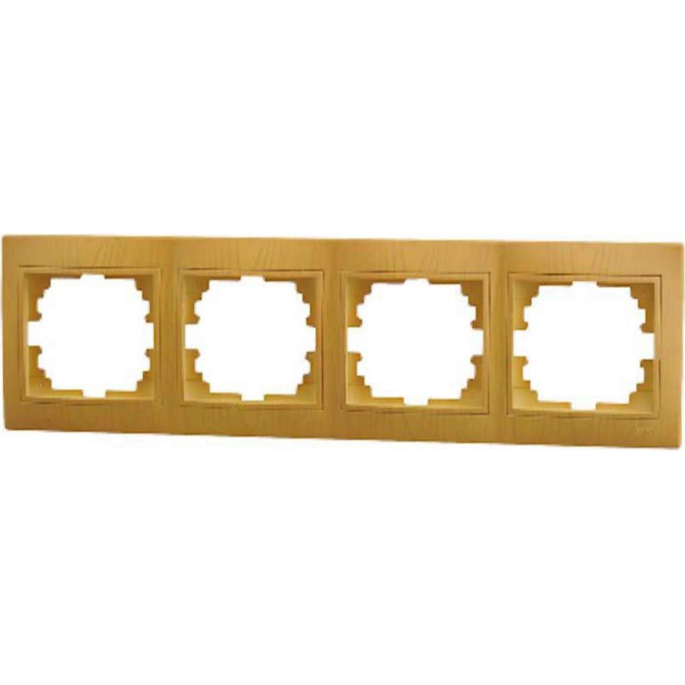Купить Четырехместная горизонтальная рамка lezard mira ольха 701-0701-149