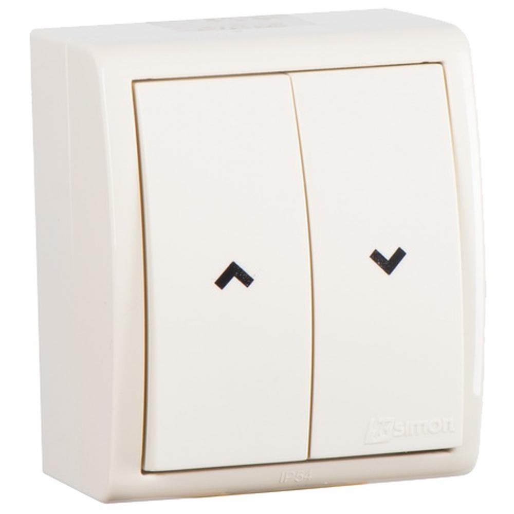 Купить 2-хклавишный кнопочный выключатель simon для управления жалюзи без блокировки, ip54, 10а 250в, слоновая кость 1594332-031