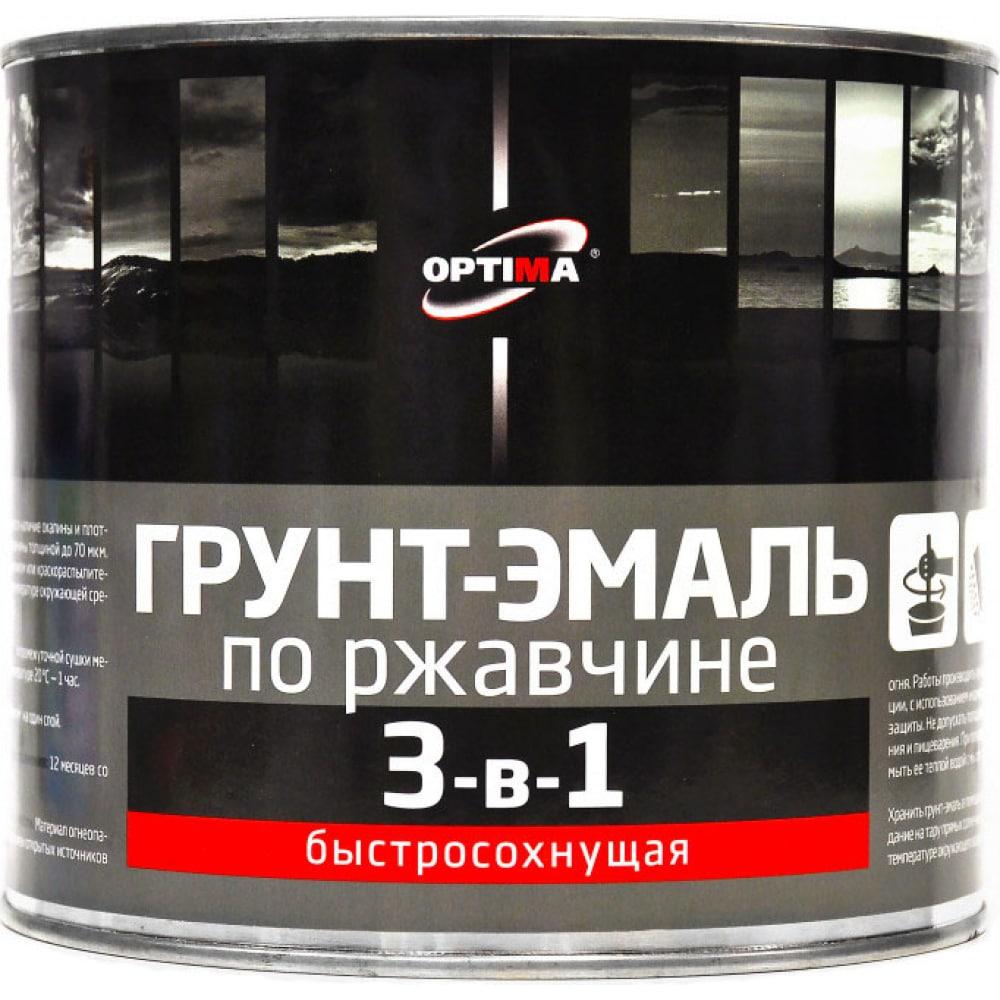 Купить Быстросохнущая грунт-эмаль optima 3 в 1 1, 7кг серая 11598016