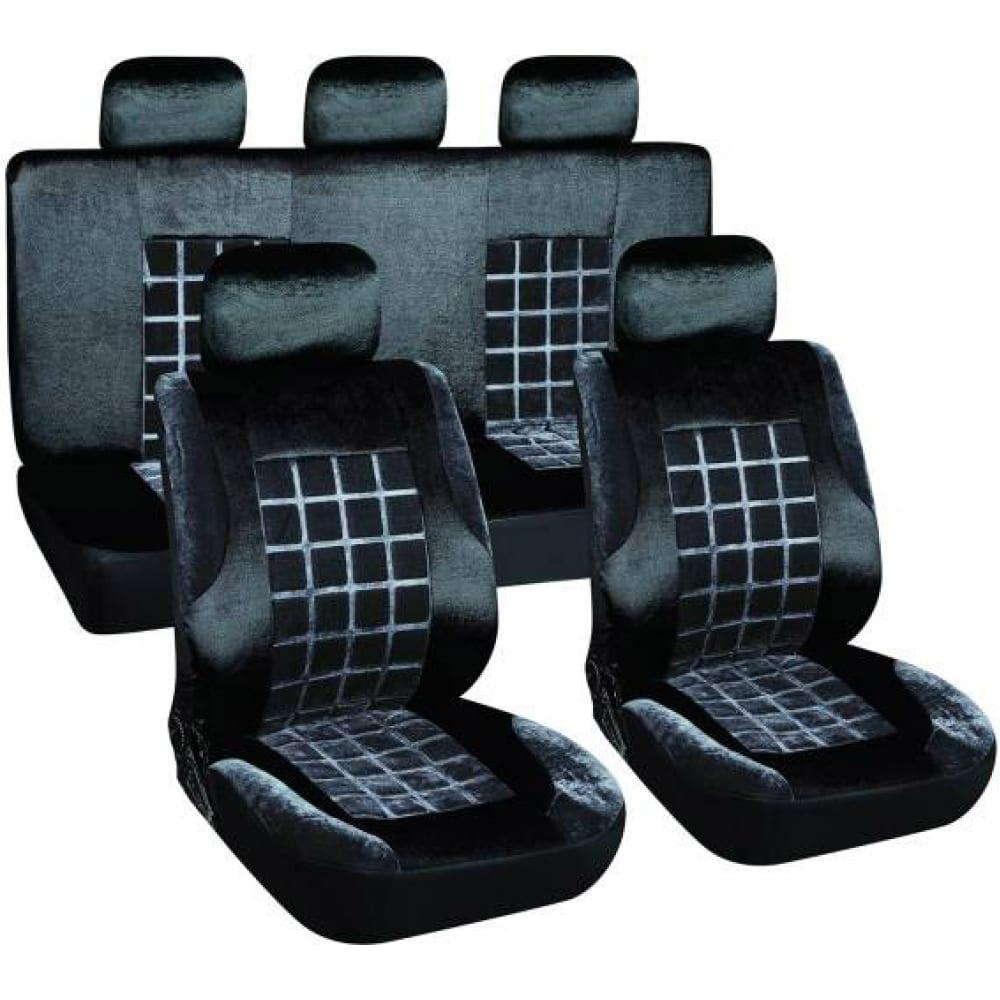 Чехлы сиденья skyway velvet-1 велюр 9 предм. черно/серый s01301153