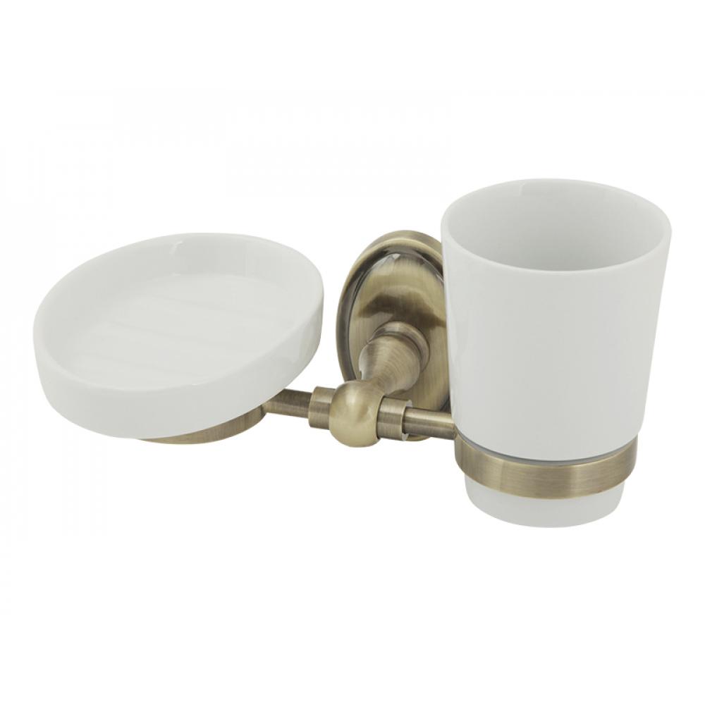 Купить Настенный стакан с мыльницей veragio bonjour бронза, керамика vr.bnr-7843.br